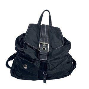 Coach Hamptons Black Satin Backpack